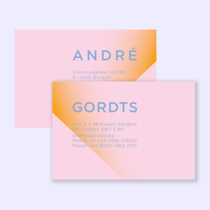 Business cards lennartz graphics business card design for a belgian art collector name and family name are separately printed on front and back on pink paper colourmoves