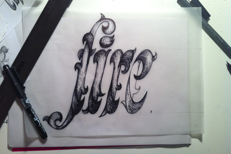 Fire Words Drawing Letters Fit Together in Words